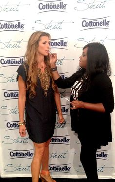 Connecticut Makeup Artist and Sephora Beauty Studio Coordinator Brandy Gomez-Duplessis getting actress Alysia Reiner makeup ready at NYFW