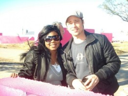 Connecticut Makeup Artist Brandy Gomez-Duplessis and Brad Pitt on set in New Orleans