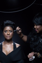 Celebrity Makeup Artist Brandy Gomez-Duplessis workingon Felita Harris