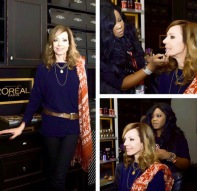 Makeup Artist BrandyGomez-Duplessis doing hair & makeup on Allison Janneyat Sundance Film Festival