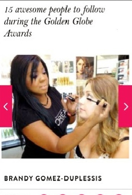 L'OREAL Paris Makeup Artist Brandy Gomez-Duplessis name Golden Globe Awards