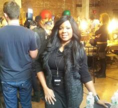 Celebrity Makeup Artist Brandy Gomez-Duplessis backstage at DKNY show