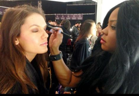 Celebrity Makeup Artist Brandy Gomez-Duplessis doing makeup for Project Runway Finale